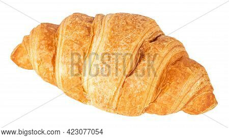 Croissant Isolated On White Background. Delicious, Fresh Croissant.