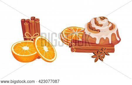 Dried Cinnamon Bark Strips Or Sticks With Bun And Orange Slices Vector Set