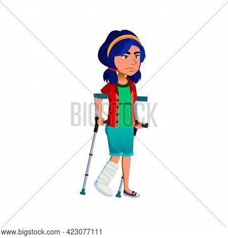 Sad Girl With Broken Leg Walking On Crutches Cartoon Vector. Sad Girl With Broken Leg Walking On Cru