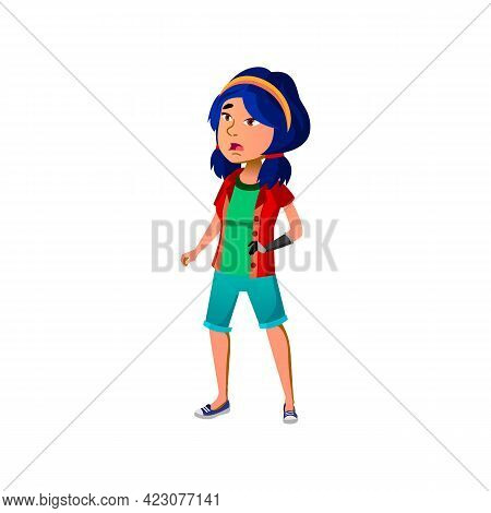 Shocked Girl With Hand Prosthesis Cartoon Vector. Shocked Girl With Hand Prosthesis Character. Isola