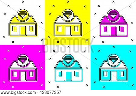 Set Front Facade Building Jewelry Store Icon Isolated On Color Background. Vector