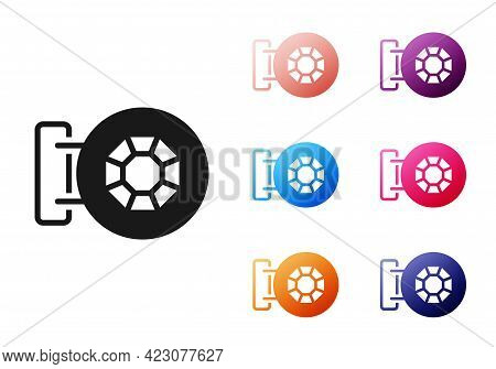 Black Front Facade Building Jewelry Store Icon Isolated On White Background. Set Icons Colorful. Vec