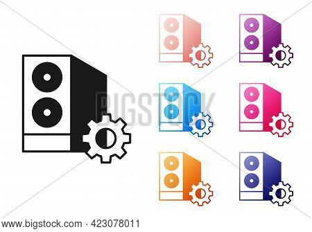 Black Case Of Computer Setting Icon Isolated On White Background. Computer Server. Workstation. Adju