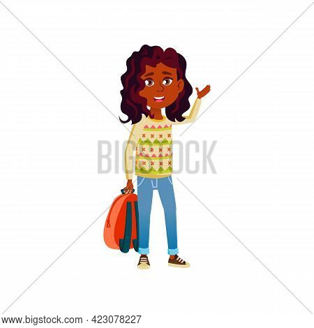 Lucky African Girl With Backpack Going To College Cartoon Vector. Lucky African Girl With Backpack G
