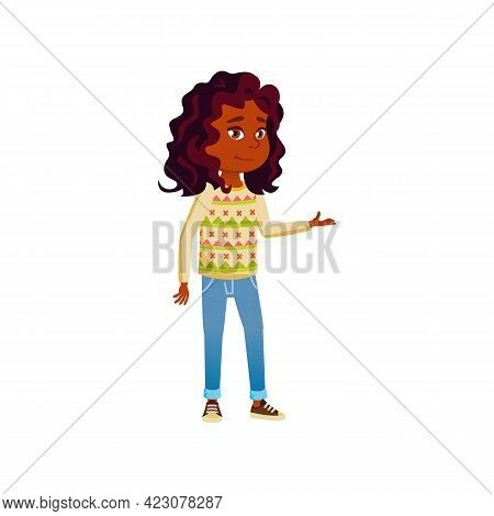 Smiling African Girl Offering To Buy Goods Cartoon Vector. Smiling African Girl Offering To Buy Good