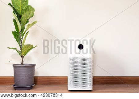 Air Purifier White Colour Modern Style In A Living Room For Refresh Air Flow At Home,advanced Air Pu