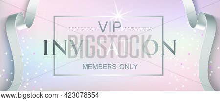 Vip Invitation Members Only Lettering. Party Invitation Design. Typed Text, Calligraphy. For Leaflet