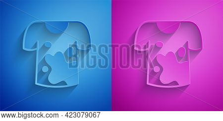 Paper Cut Dirty T-shirt Icon Isolated On Blue And Purple Background. Paper Art Style. Vector