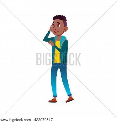 Young Boy Forgot Book At Home Cartoon Vector. Young Boy Forgot Book At Home Character. Isolated Flat