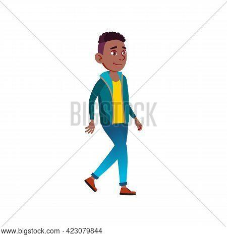 African Boy Teen Walking In Mall Cartoon Vector. African Boy Teen Walking In Mall Character. Isolate