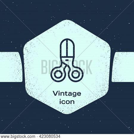 Grunge Line Scissors Hairdresser Icon Isolated On Blue Background. Hairdresser, Fashion Salon And Ba