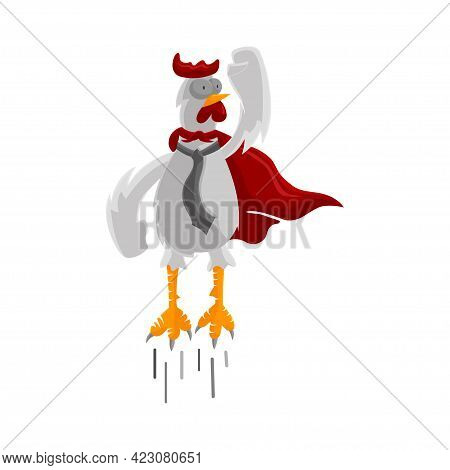 Roster Fly Chicken Wear Cloak Illustration Businessman Success Template Design