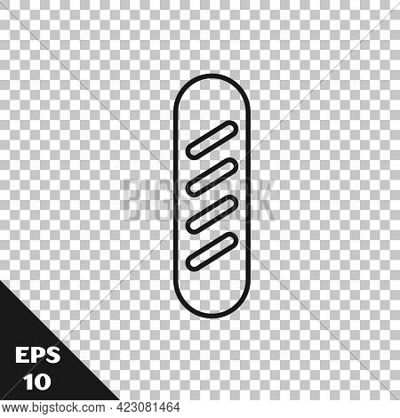 Black Line French Baguette Bread Icon Isolated On Transparent Background. Vector