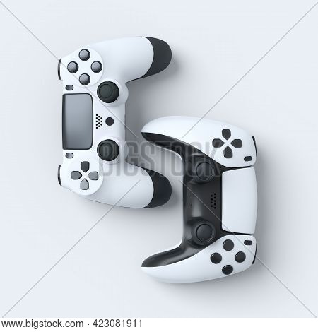 Set Of Lying Gamer Joysticks Or Gamepads On White Background With Blur. 3d Rendering Of Accessories