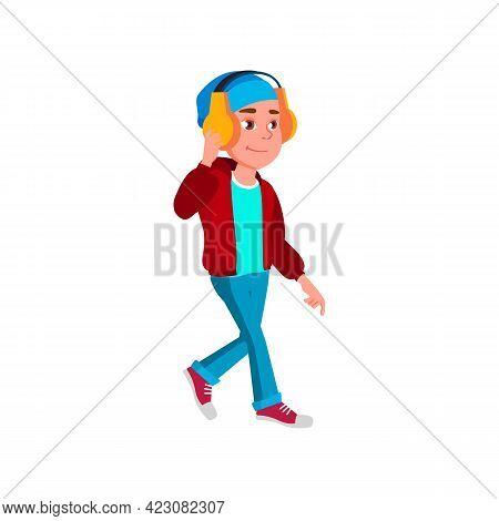 Positive Emotion Boy Teen Walk Outdoor And Listen Music In Headphones Cartoon Vector. Positive Emoti