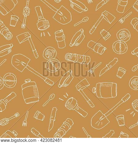 I Love Camping. Seamless Pattern With Camping Elements. Picnic, Hiking, Travel And Camping. Vector I