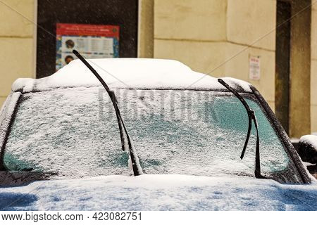 Real Raised Windshield Wipers For Cars In Snowy Winter Weather Day