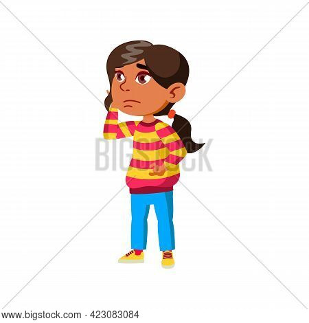 Sad Girl Kid With Toothache In Dentist Cabinet Cartoon Vector. Sad Girl Kid With Toothache In Dentis