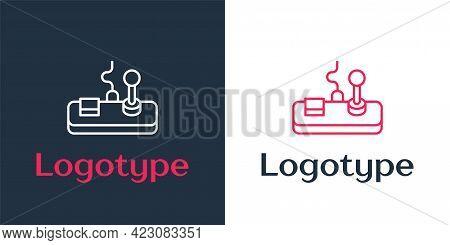 Logotype Line Gamepad Icon Isolated On White Background. Game Controller. Logo Design Template Eleme