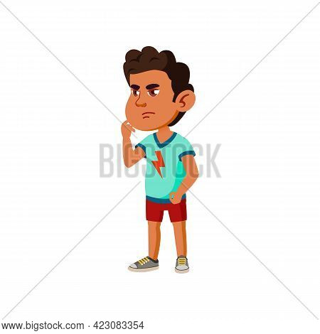 Serious Small Boy In Clinic Cartoon Vector. Serious Small Boy In Clinic Character. Isolated Flat Car