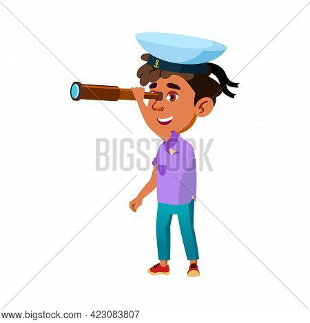 Latino Little Boy Captain Looking At Spyglass Cartoon Vector. Latino Little Boy Captain Looking At S