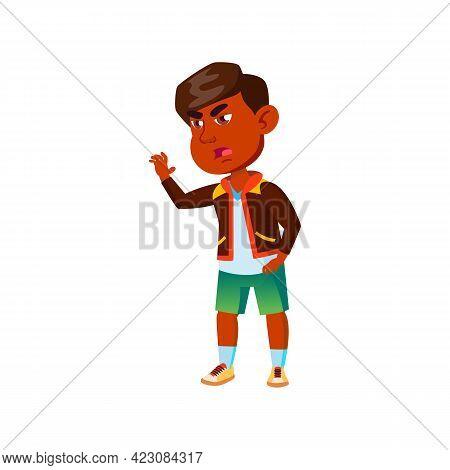 Sad Indian Boy Kid Refusing Offer Cartoon Vector. Sad Indian Boy Kid Refusing Offer Character. Isola