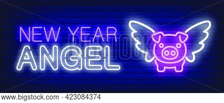 New Year Angel Neon Text And Pig With Wings. New Year Day And Christmas Design. Night Bright Neon Si