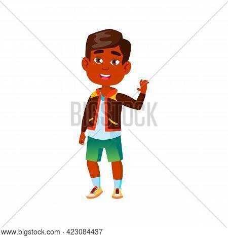 Happy Indian Boy Say Goodbye Classmate Cartoon Vector. Happy Indian Boy Say Goodbye Classmate Charac