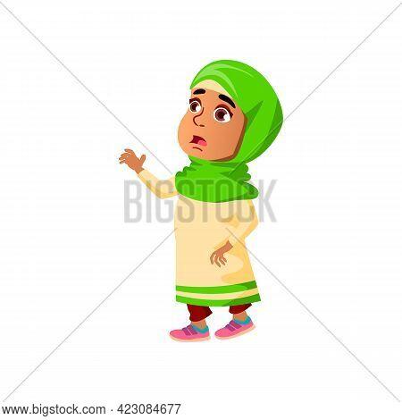 Frightened Arab Girl Child Forgot Toy In Kindergarten Cartoon Vector. Frightened Arab Girl Child For