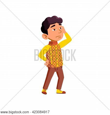 Japanese Small Boy Tired From Excursion Cartoon Vector. Japanese Small Boy Tired From Excursion Char