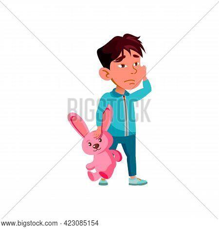 Sleepy Boy Kid With Rabbit Toy At Home Cartoon Vector. Sleepy Boy Kid With Rabbit Toy At Home Charac