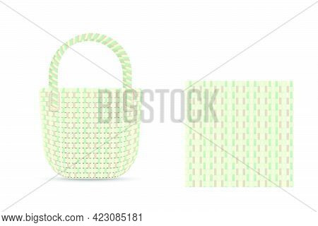 Illustration Pattern Of Weaved Lines As A Texture For A Fabric Bag Clothe Or Basket Geometric Shapes