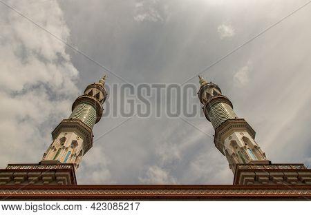 Bangkok, Thailand - 07 Jun 2021 : Two Tower Of Masjid Al - Yusraw Or Al - Yusraw Mosque At Afternoon