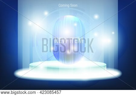 Technology Dark Blue Background For Product Display Presentation New Item Represented By A Circular