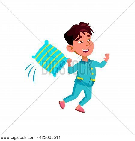 Smiling Small Bay Play Battle With Pillow Cartoon Vector. Smiling Small Bay Play Battle With Pillow