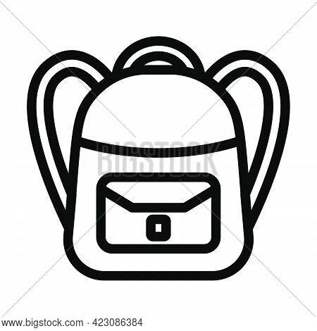 Icon Of School Rucksack. Editable Bold Outline Design. Vector Illustration.