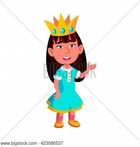 Toddler Girl Wearing Crown Play Queen Cartoon Vector. Toddler Girl Wearing Crown Play Queen Characte