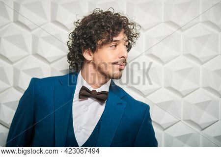 Men's fashion. Portrait of a handsome brunet man in elegant blue suit and a bow-tie posing at studio. Copy space.