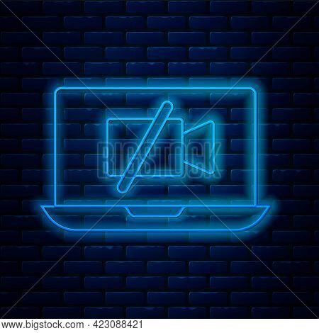 Glowing Neon Line Video Camera Off On Laptop Screen Icon Isolated On Brick Wall Background. No Video