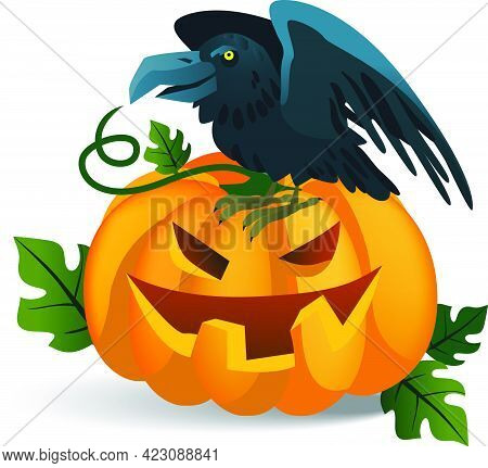 Smiling Pumpkin And Crow Sitting On It. Halloween Cartoon Characters Isolated Flat Vector Illustrati