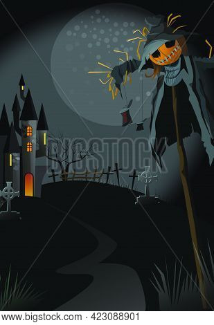 Ugly Scarecrow On Stick At Night Vector Illustration. Narrow Path To Gothic Building. Abandoned Hous