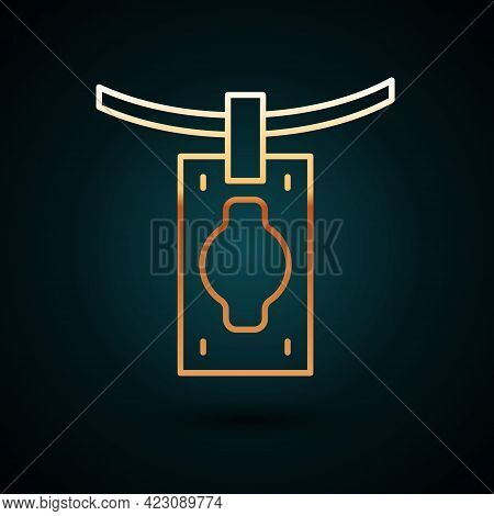 Gold Line Money Laundering Icon Isolated On Dark Blue Background. Money Crime Concept. Vector