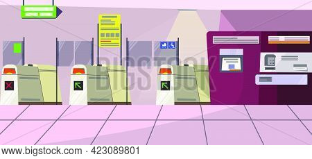 Airport Security Gates Vector Illustration. Modern Terminal And Direction Signboard In Airport Room.