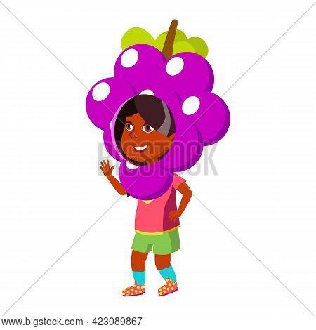 Cute Girl Child Wearing Grape Suit In School Play Cartoon Vector. Cute Girl Child Wearing Grape Suit
