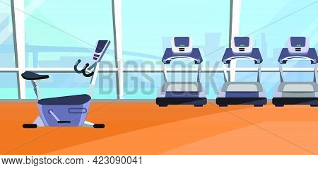 Cardio Area Vector Illustration. Gym, Treadmill, Exercise Bike, Panoramic Window. Sport Concept. Can