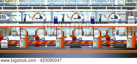 Car Assembly Line Vector Illustration. Automated Automobile Production. Automobile Industry Concept.