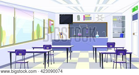 Chemistry Classroom With Flasks On Table Vector Illustration. Clean Classroom With Desks And Shelves
