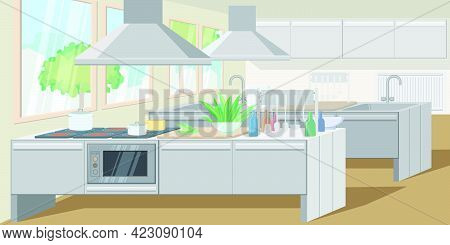 Commercial Kitchen With Counters Equipped Powerful Appliances. Exhaust Hood Above Counter. Restauran