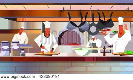 Cooks Working At Restaurant Kitchen Vector Illustration. Busy Chefs In Uniform Cooking Dishes. Resta