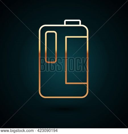 Gold Line Plastic Bottle With Handle For Milk Icon Isolated On Dark Blue Background. Gallon Of Milk.